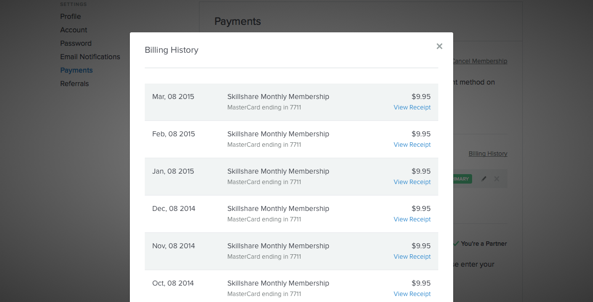 How do I view my billing history and receipts? – Skillshare Help Center